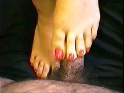 Another creampie Footjob from. Painful pale pink nail