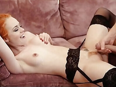 Brown-haired redhead is getting her pussy pumped by two cum lovers