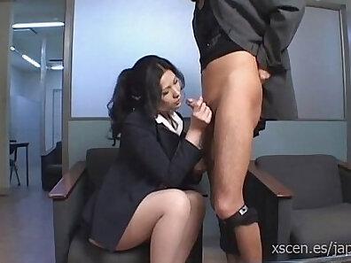 Tattooed japan girl blows her boss dick hard