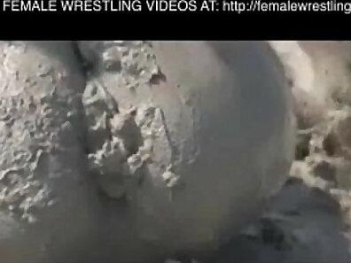 Masseuse ridding old man wrestling