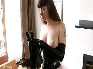 Beautiful latex latina chick with horn bondage