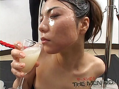 Skinny Japanese girl is fucking her body until she swallows cum