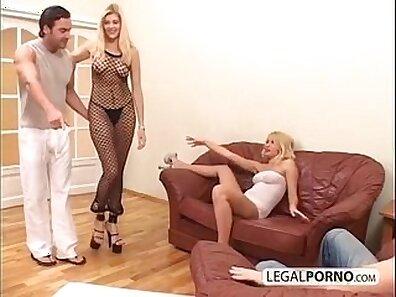 Blonde Cums hard on a big dick in threeway