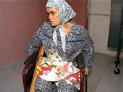 Tanned sexy granny masturbating in chocolate
