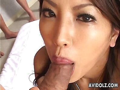 Bosomy Japanese beauty Skybeil gets nailed by an older dude