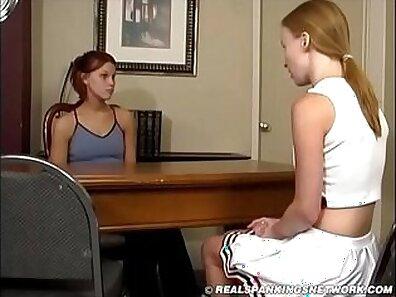 Teen spanking aspiring brit blondie cheerleader with a pompo