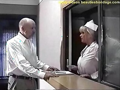 Busty nurse bound and gagged in the car by the driver