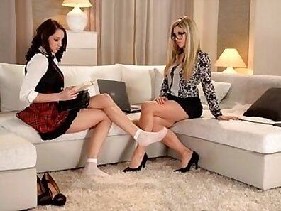 Horny latina lesbians get some raunchy foot fetish action