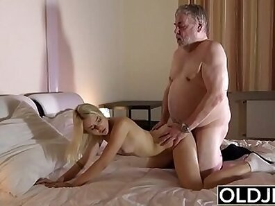 Blonde babe rides cock and swallows cum