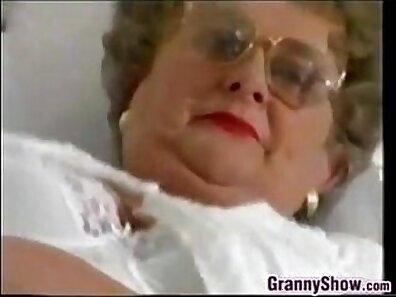 Bukkake granny playing with fat phat tits