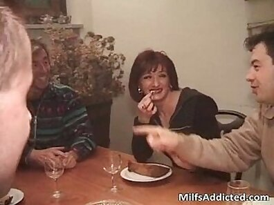 Awesome brunette milf really sucks and rides big dong