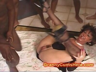BBC gangbang with busty cum queen