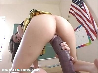 ElephantDoll Fulfills Her Haired Hairy Pussy With Monster Dildo