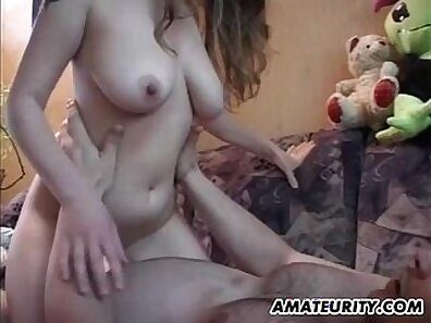 Blonde big tits amateur teen some hot cum on tits