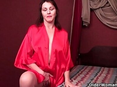 hairy angel in hot pantyhose wearing red jumps on a vibrator with her feet