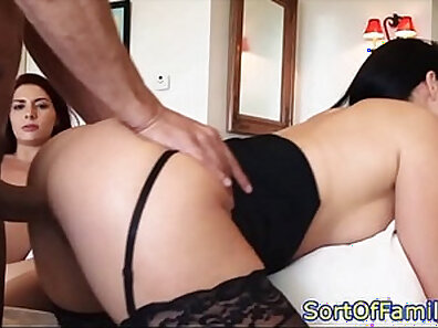 Busty stepmom threeway with table companion and stockings