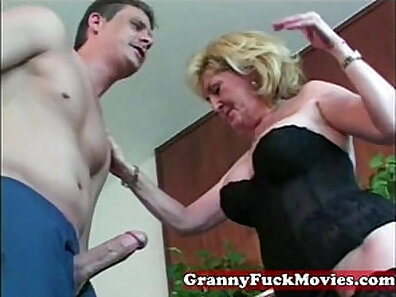 Amazing granny fucks a young boy and the tutor
