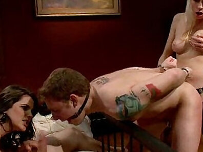 Big tit femdoms humiliated by a slave duo and an old mate